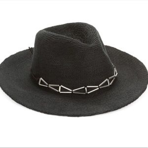 BCBGeneration Accessories - NEW Black Wide Brim Hats Silver Band Boho d017e296fe2